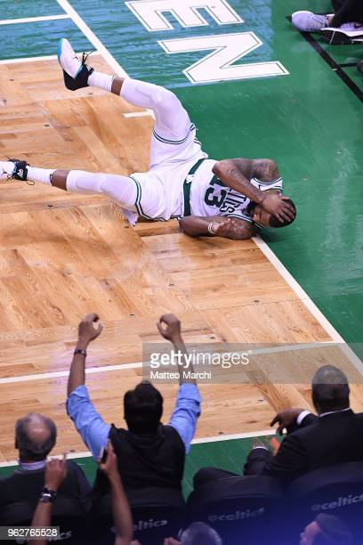 Marcus Morris of the Boston Celtics reacts during the game against of the Cleveland Cavaliers on Game Five of the 2018 NBA Eastern Conference Finals...