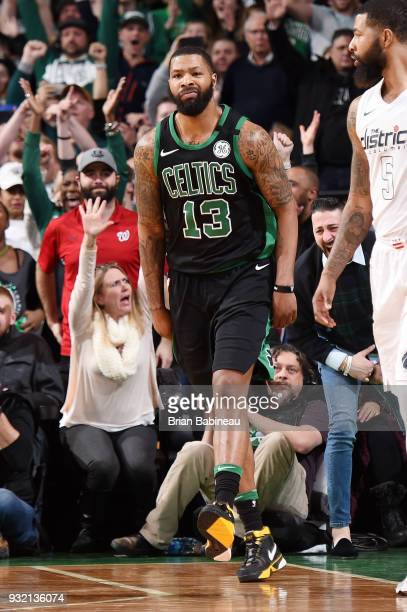 Marcus Morris of the Boston Celtics reacts during the game against the Washington Wizards on March 14 2018 at the TD Garden in Boston Massachusetts...