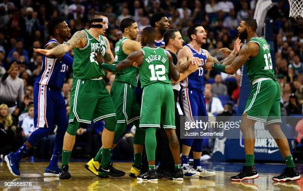 Marcus Morris of the Boston Celtics reacts during the NBA game between Boston Celtics and Philadelphia 76ers at The O2 Arena on January 11 2018 in...