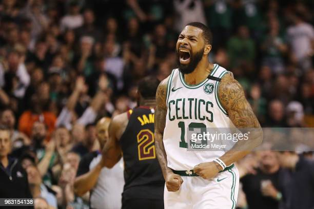 Marcus Morris of the Boston Celtics reacts in the second half against the Cleveland Cavaliers during Game Seven of the 2018 NBA Eastern Conference...
