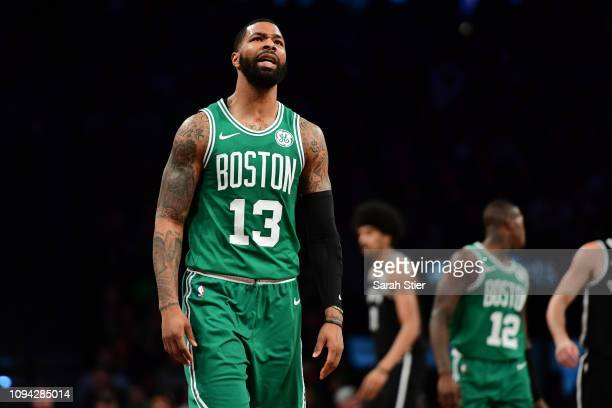 Marcus Morris of the Boston Celtics reacts to a call during the fourth quarter of the game against the Brooklyn Nets at Barclays Center on January 14...