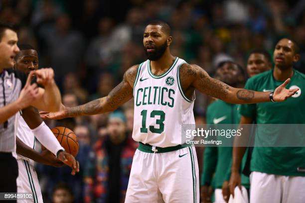 Marcus Morris of the Boston Celtics reacts to a call from the official during the second half of the game against the Houston Rockets at TD Garden on...