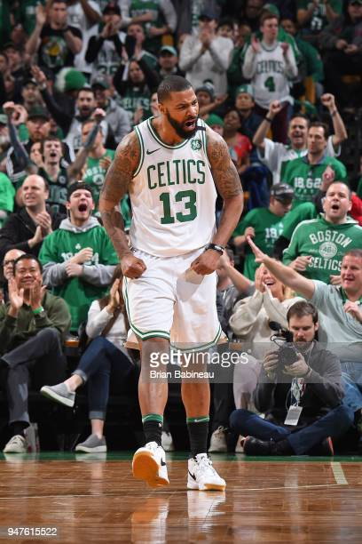 Marcus Morris of the Boston Celtics reacts to a play during the game against the Milwaukee Bucks in Game One of Round One during the 2018 NBA...