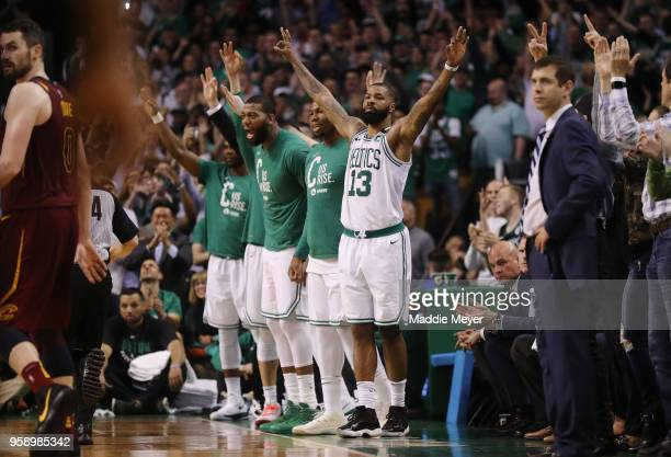 Marcus Morris of the Boston Celtics reacts with teammates on the sideline in the second half against the Cleveland Cavaliers during Game Two of the...
