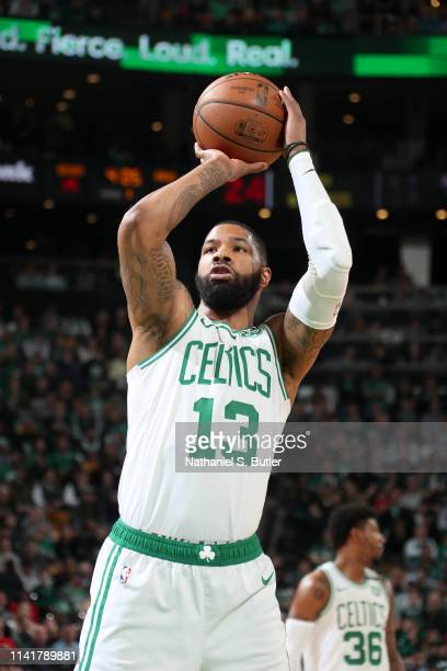 Marcus Morris of the Boston Celtics shoots a free throw against the Milwaukee Bucks during Game Four of the Eastern Conference Semifinals of the 2019...