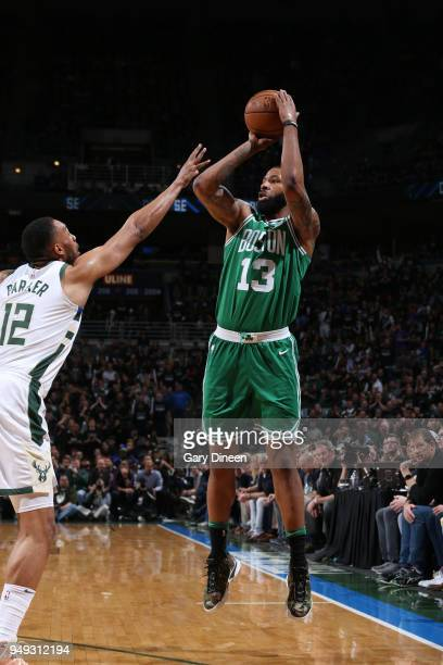 Marcus Morris of the Boston Celtics shoots the ball against the Milwaukee Bucks in Game Three of Round One of the 2018 NBA Playoffs on April 20 2018...