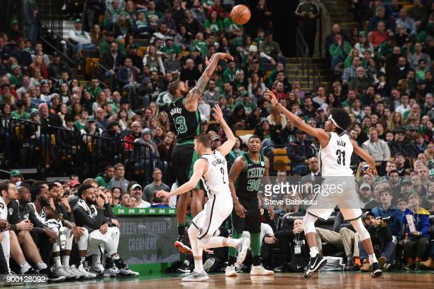 Marcus Morris of the Boston Celtics shoots the ball against the Brooklyn Nets on December 31 2017 at TD Garden in Boston Massachusetts NOTE TO USER...