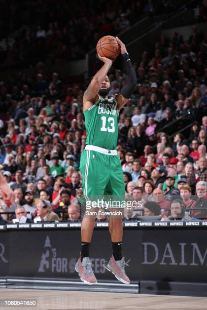 Marcus Morris of the Boston Celtics shoots the ball against the Portland Trail Blazers on November 11 2018 at the Moda Center in Portland Oregon NOTE...