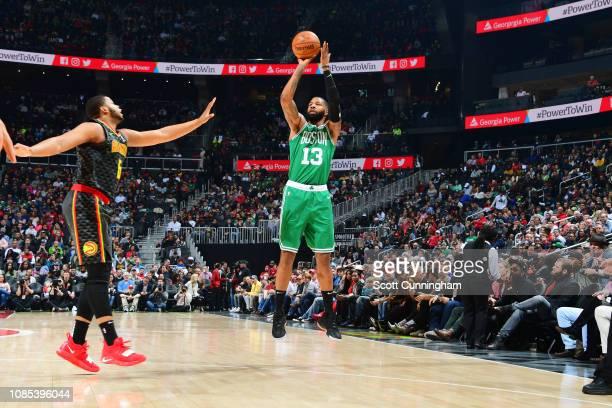 Marcus Morris of the Boston Celtics shoots the ball against the Atlanta Hawks on January 19 2019 at State Farm Arena in Atlanta Georgia NOTE TO USER...