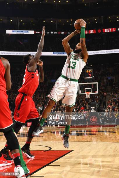 Marcus Morris of the Boston Celtics shoots the ball against the Toronto Raptors on February 6 2018 at the Air Canada Centre in Toronto Ontario Canada...