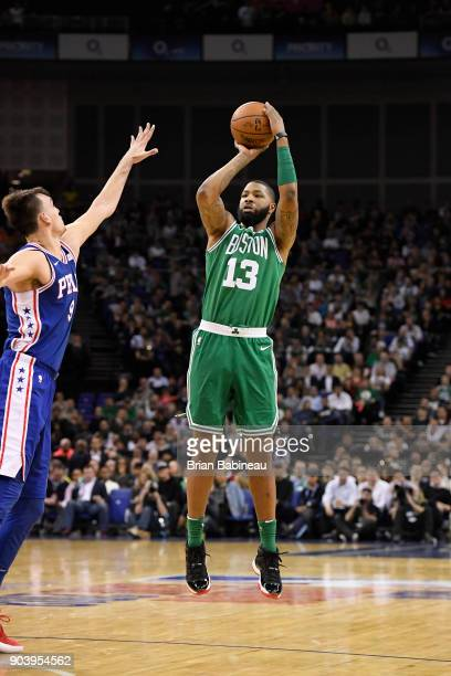 Marcus Morris of the Boston Celtics shoots the ball against the Philadelphia 76ers during the 2018 NBA London Game at the 02 Arena on January 11 2018...
