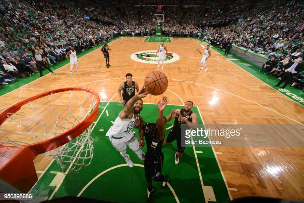 Marcus Morris of the Boston Celtics shoots the ball against the Milwaukee Bucks Game Five of Round One of the 2018 NBA Playoffs on April 24 2018 at...