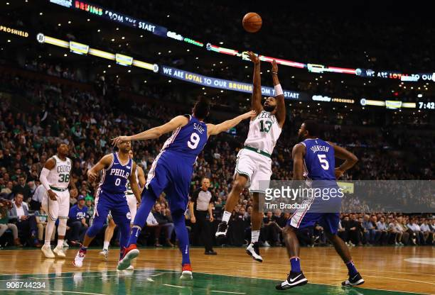 Marcus Morris of the Boston Celtics shoots the ball during the first half against the Philadelphia 76ers at TD Garden on January 18 2018 in Boston...