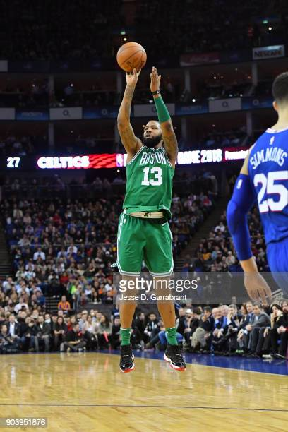Marcus Morris of the Boston Celtics shoots the ball during the game against the Philadelphia 76ers on January 11 2018 at The O2 Arena in London...
