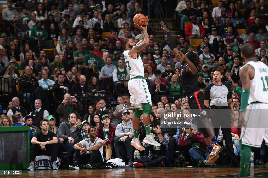 Marcus Morris #13 of the Boston Celtics shoots the ball during the game against the LA Clippers on February 14, 2018 at the TD Garden in Boston, Massachusetts.