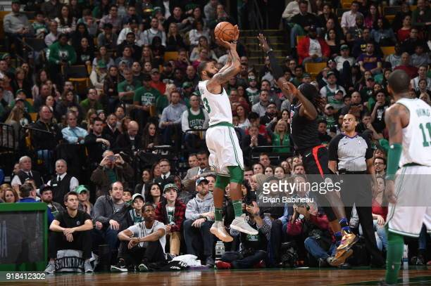 Marcus Morris of the Boston Celtics shoots the ball during the game against the LA Clippers on February 14 2018 at the TD Garden in Boston...