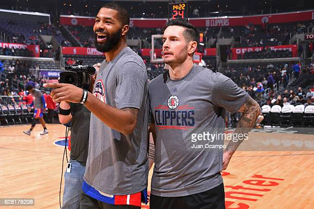 Marcus Morris of the Detroit Pistons and JJ Redick of the LA Clippers are seen before the game on November 7 2016 at the STAPLES Center in Los...