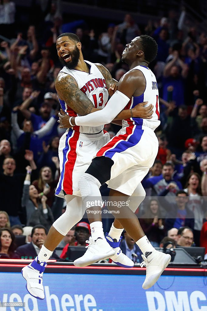 Marcus Morris #13 of the Detroit Pistons celebrates his buzzer beating game winning shot with Reggie Jackson #1 to beat the Washington Wizards 113-112 at the Palace of Auburn Hills on January 21, 2017 in Auburn Hills, Michigan.