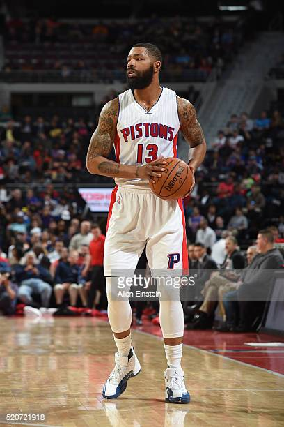 Marcus Morris of the Detroit Pistons defends the abll against the Miami Heat during the game on April 12 2016 at The Palace of Auburn Hills in AUBURN...