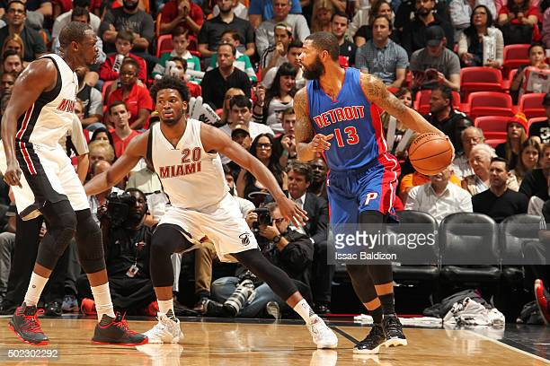 Marcus Morris of the Detroit Pistons defends the ball against the Miami Heat during the game on December 22 2015 at American Airlines Arena in Miami...