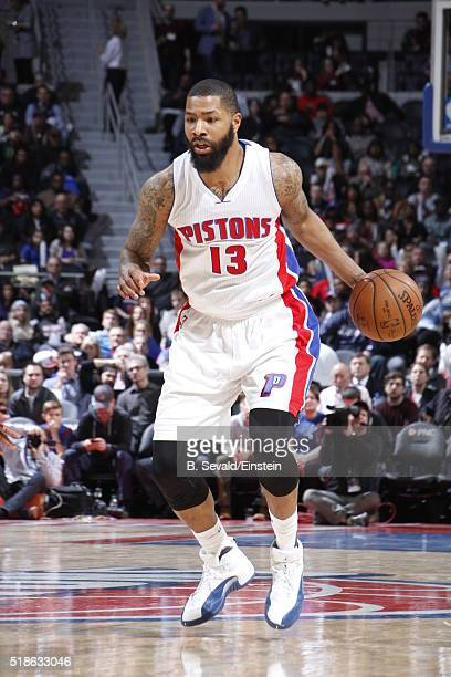 Marcus Morris of the Detroit Pistons dribbles the ball against the Dallas Mavericks on April 1 2016 at The Palace of Auburn Hills in Auburn Hills...