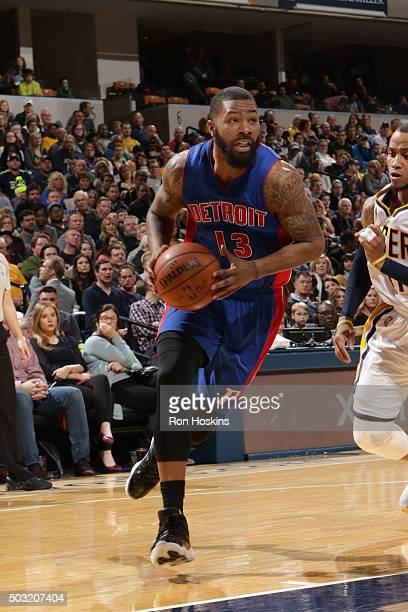Marcus Morris of the Detroit Pistons drives to the basket against the Indiana Pacers on January 2 2016 at Bankers Life Fieldhouse in Indianapolis...