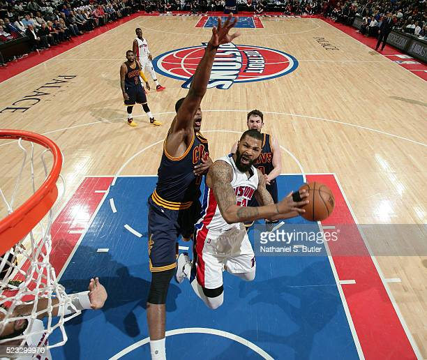Marcus Morris of the Detroit Pistons goes for the layup against the Cleveland Cavaliers during Game Three of the Eastern Conference Quarterfinals...