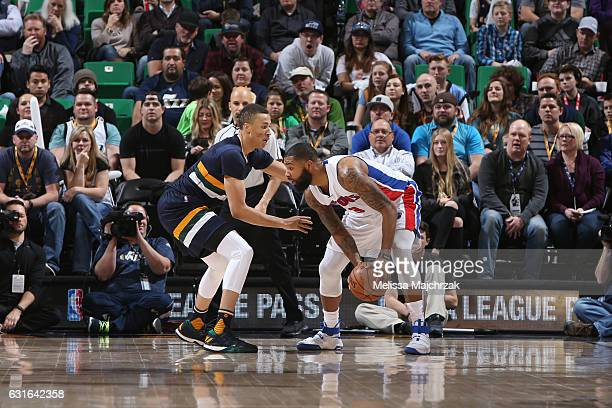 Marcus Morris of the Detroit Pistons handles the ball against Dante Exum of the Utah Jazz during a game on January 13 2017 at vivintSmartHome Arena...