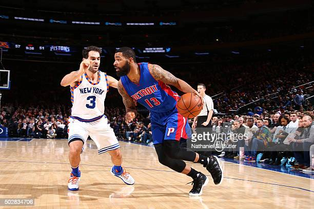 Marcus Morris of the Detroit Pistons handles the ball against Jose Calderon of the New York Knicks on December 29 2015 at Madison Square Garden in...