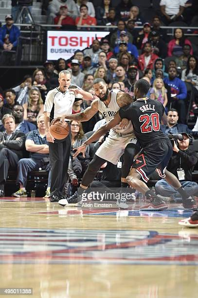 Marcus Morris of the Detroit Pistons handles the ball against the Chicago Bulls on October 30 2015 at The Palace of Auburn Hills in Auburn Hills...