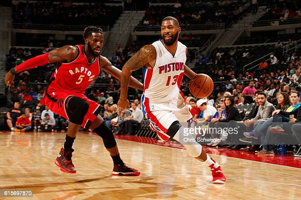 Marcus Morris of the Detroit Pistons handles the ball against the Toronto Raptors on October 19 2016 at The Palace of Auburn Hills in Auburn Hills...