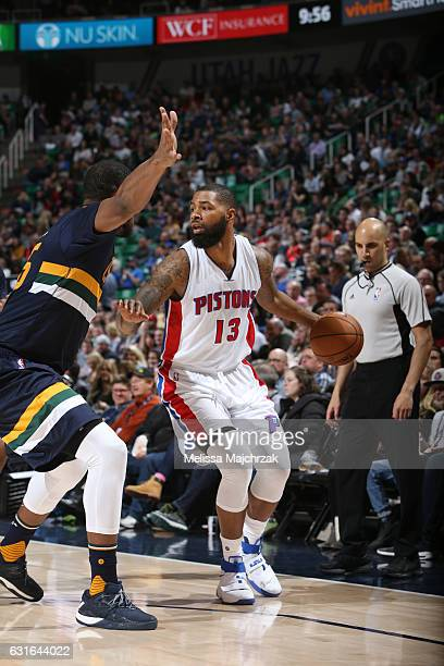 Marcus Morris of the Detroit Pistons handles the ball during a game against the Utah Jazz on January 13 2017 at vivintSmartHome Arena in Salt Lake...