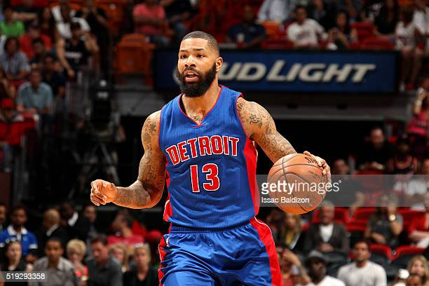 Marcus Morris of the Detroit Pistons handles the ball during the game against the Miami Heat on April 5 2016 at AmericanAirlines Arena in Miami...