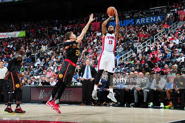 Marcus Morris of the Detroit Pistons shoots the ball against the Atlanta Hawks on October 27 2015 at Philips Center in Atlanta Georgia NOTE TO USER...