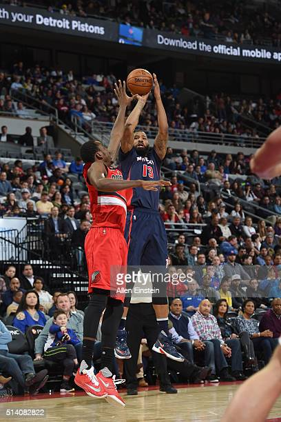 Marcus Morris of the Detroit Pistons shoots the ball against the Portland Trail Blazers on March 6 2016 at The Palace of Auburn Hills in Auburn Hills...