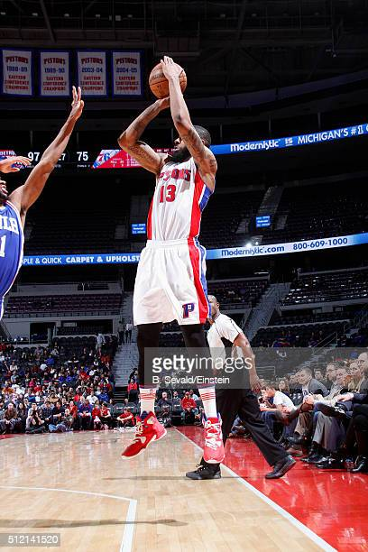 Marcus Morris of the Detroit Pistons shoots the ball during the game against the Philadelphia 76ers on February 24 2016 at The Palace of Auburn Hills...