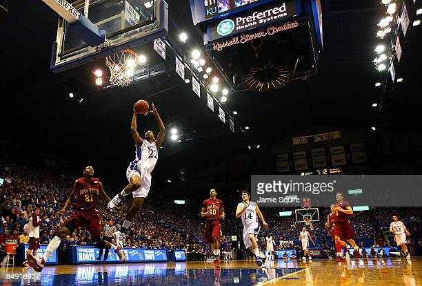 Marcus Morris of the Kansas Jayhawks lays up on a fast break against the Iowa State Cyclones during the game at Allen Fieldhouse February 18 2009 in...