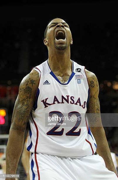 Marcus Morris of the Kansas Jayhawks reacts after a dunk against the Texas Longhorns in the second half of the 2011 Phillips 66 Big 12 Men's...