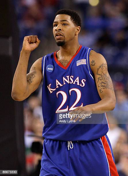 Marcus Morris of the Kansas Jayhawks reacts to a play against the Michigan State Spartans during the third round of the NCAA Division I Men's...