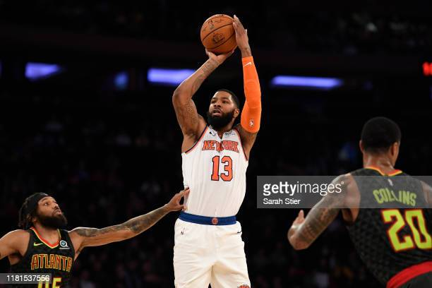 Marcus Morris of the New York Knicks attempts a basket during the fourth quarter of the preseason game against the Atlanta Hawks at Madison Square...