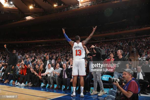 Marcus Morris of the New York Knicks celebrates with the crowd during the game against the Chicago Bulls on October 28 2019 at Madison Square Garden...