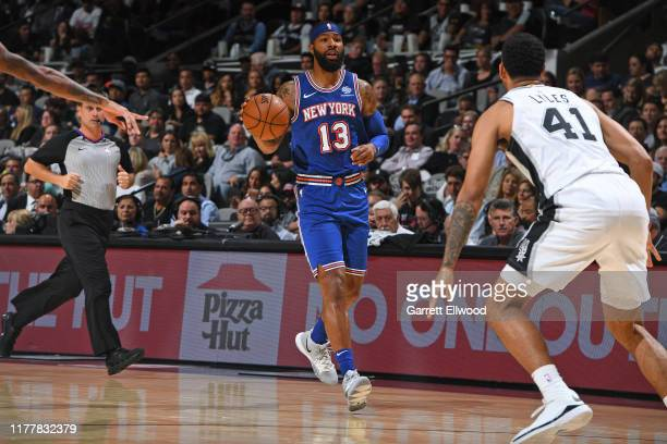 Marcus Morris of the New York Knicks dribbles the ball up court against the San Antonio Spurs on October 23 2019 at the ATT Center in San Antonio...