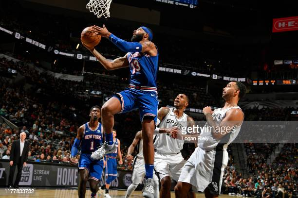 Marcus Morris of the New York Knicks drives to the basket against the San Antonio Spurs on October 23 2019 at the ATT Center in San Antonio Texas...