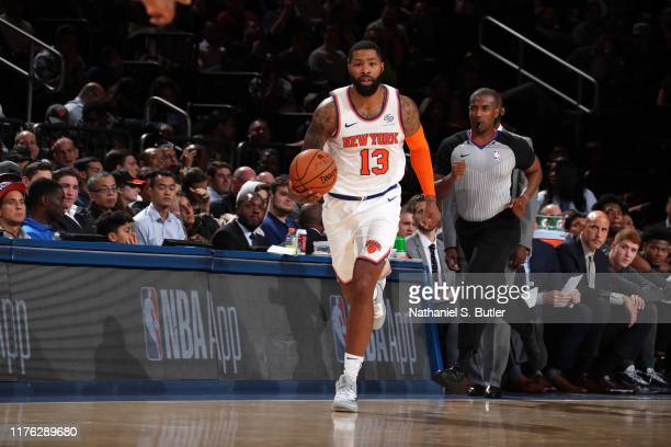 Marcus Morris of the New York Knicks handles the ball against the Atlanta Hawks during a preseason game on October 16 2019 at Madison Square Garden...