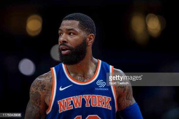Marcus Morris of the New York Knicks looks on against the Washington Wizards during the first half at Capital One Arena on October 7 2019 in...