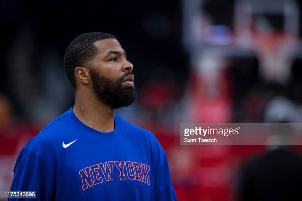 Marcus Morris of the New York Knicks looks on before the game against the Washington Wizards at Capital One Arena on October 7 2019 in Washington DC...