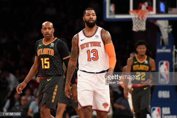 Marcus Morris of the New York Knicks looks on during the fourth quarter of the preseason game against the Atlanta Hawks at Madison Square Garden on...
