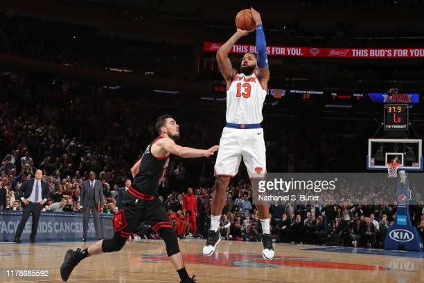 Marcus Morris of the New York Knicks shoots the ball against the Chicago Bulls on October 28 2019 at Madison Square Garden in New York City New York...