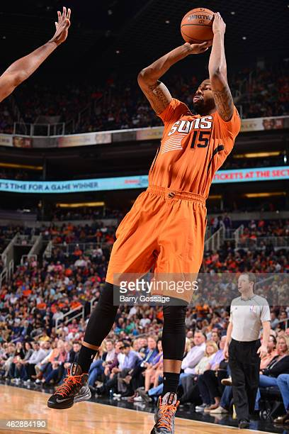 Marcus Morris of the Phoenix Suns goes up for a shot against the Utah Jazz on February 6 2015 at US Airways Center in Phoenix Arizona NOTE TO USER...
