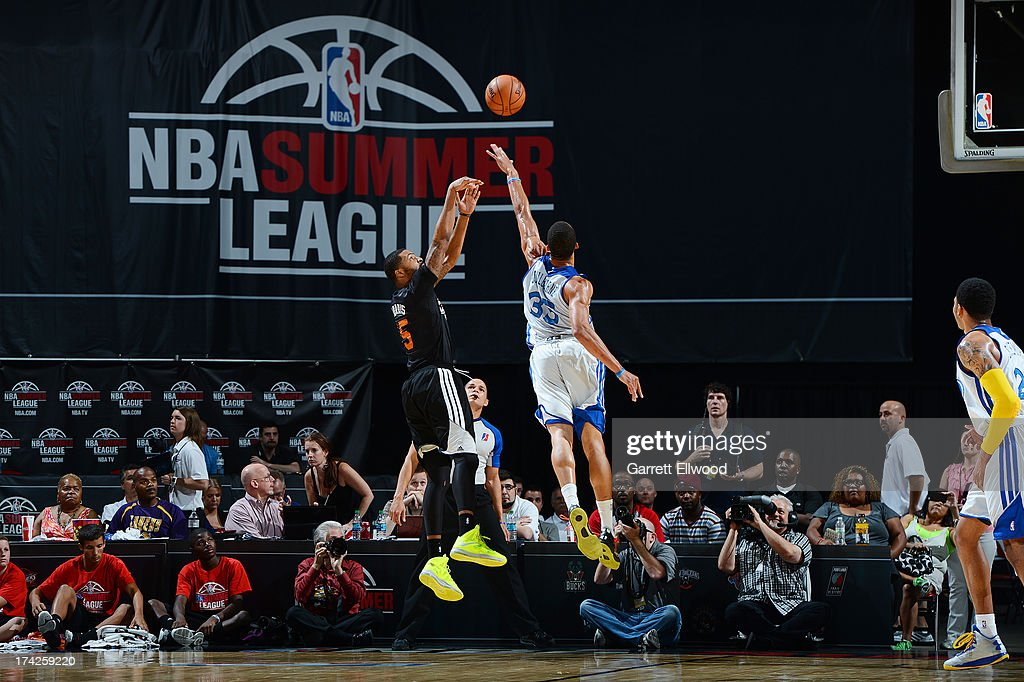 Marcus Morris #15 of the Phoenix Suns shoots the ball against the Golden State Warriors during NBA Summer League Championship Game on July 22, 2013 at the Cox Pavilion in Las Vegas, Nevada.
